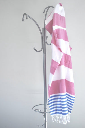 koton kulture toronto mississagua  turkish towel the classic in pink and blue colours white stripped poncho with tassels for babies kids at the beach, bath or pool