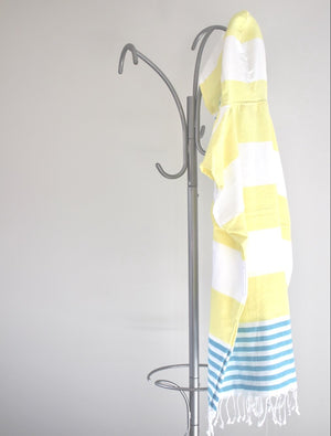 koton kulture toronto mississagua  turkish towel the classic in yellow and blue colours white stripped poncho with tassels for babies kids at the beach, bath or pool