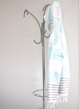 koton kulture toronto mississagua  turkish towel the classic in grey and turquoise colours white stripped poncho with tassels for babies kids at the beach, bath or pool