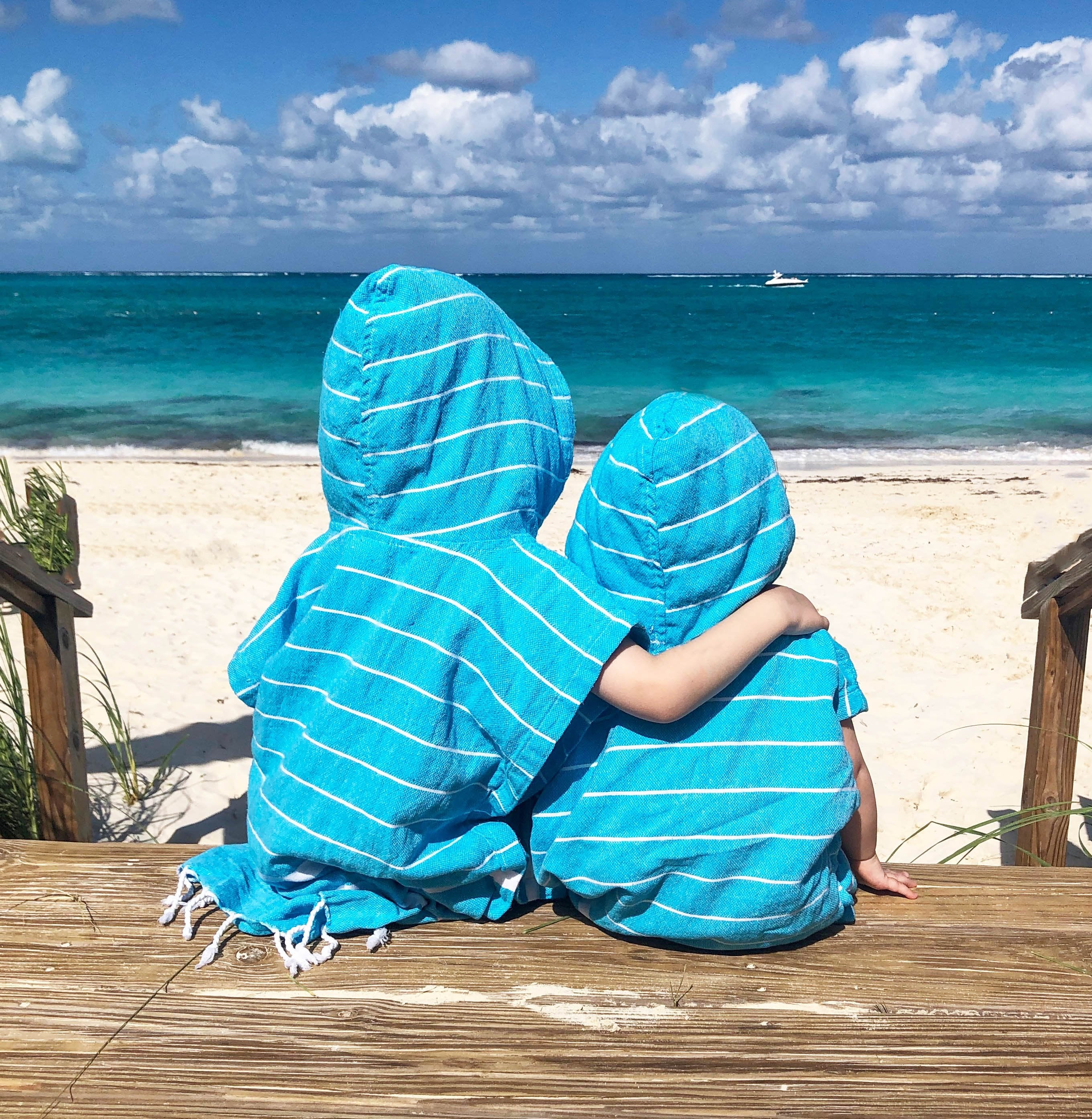 matching koton kulture toronto turkish towel infinity water aqua green or turquoise white stripped poncho with tassels for babies kids