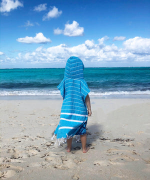 beach koton kulture toronto turkish towel infinity water aqua green or turquoise white stripped poncho with tassels for babies kids