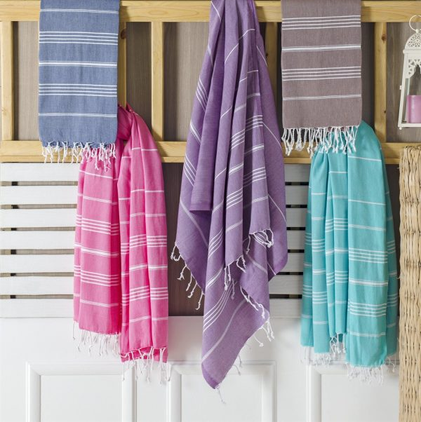 koton kulture toronto turkish towel sultans's palace peshtemal with white variable stripes and tassels. base is full colour