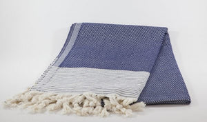 koton kulture toronto turkish towel honeybee peshtemal with white stripe at the very bottom and tassels in blue
