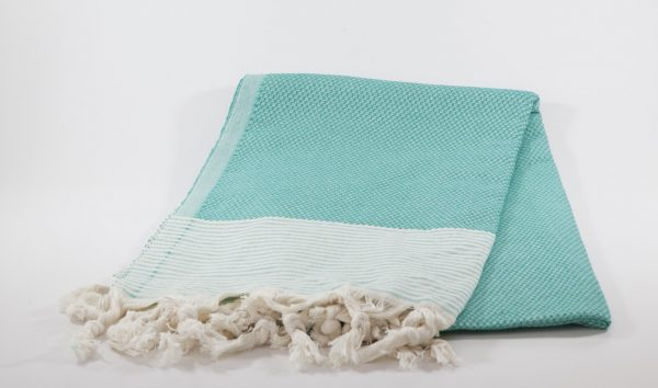 koton kulture toronto turkish towel honeybee peshtemal with white stripe at the very bottom and tassels in turquoise marine blue grey green