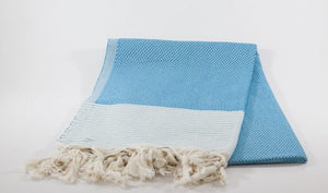 koton kulture toronto turkish towel honeybee peshtemal with white stripe at the very bottom and tassels in turquoise marine blue grey turquoise