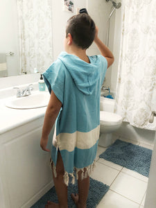 koton kulture toronto turkish towel ocean wave turquiose white stripped poncho with tassels for babies kids