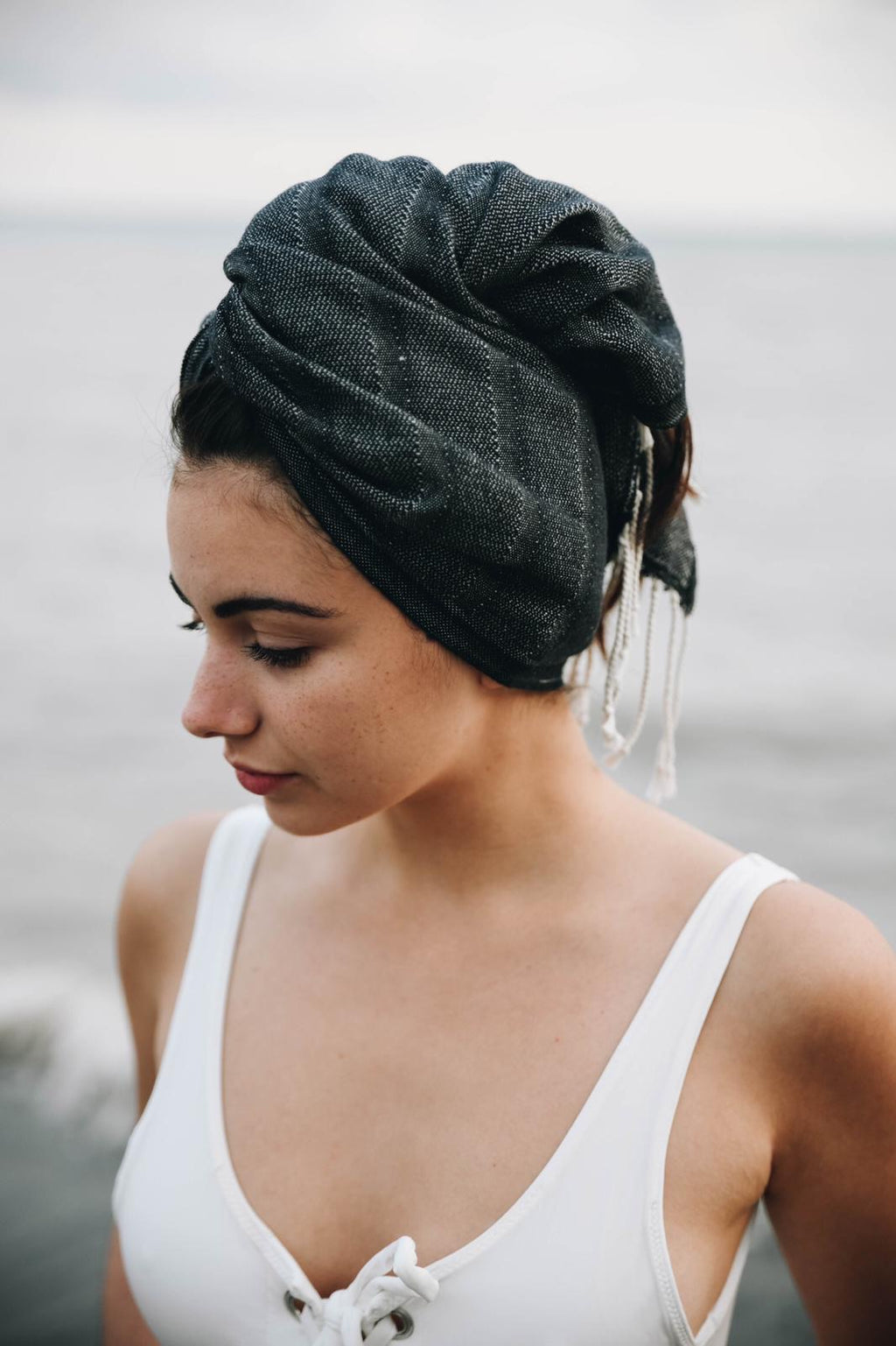 hair wrap koton kulture toronto turkish towel small size head scarf sarong black on black or light blue