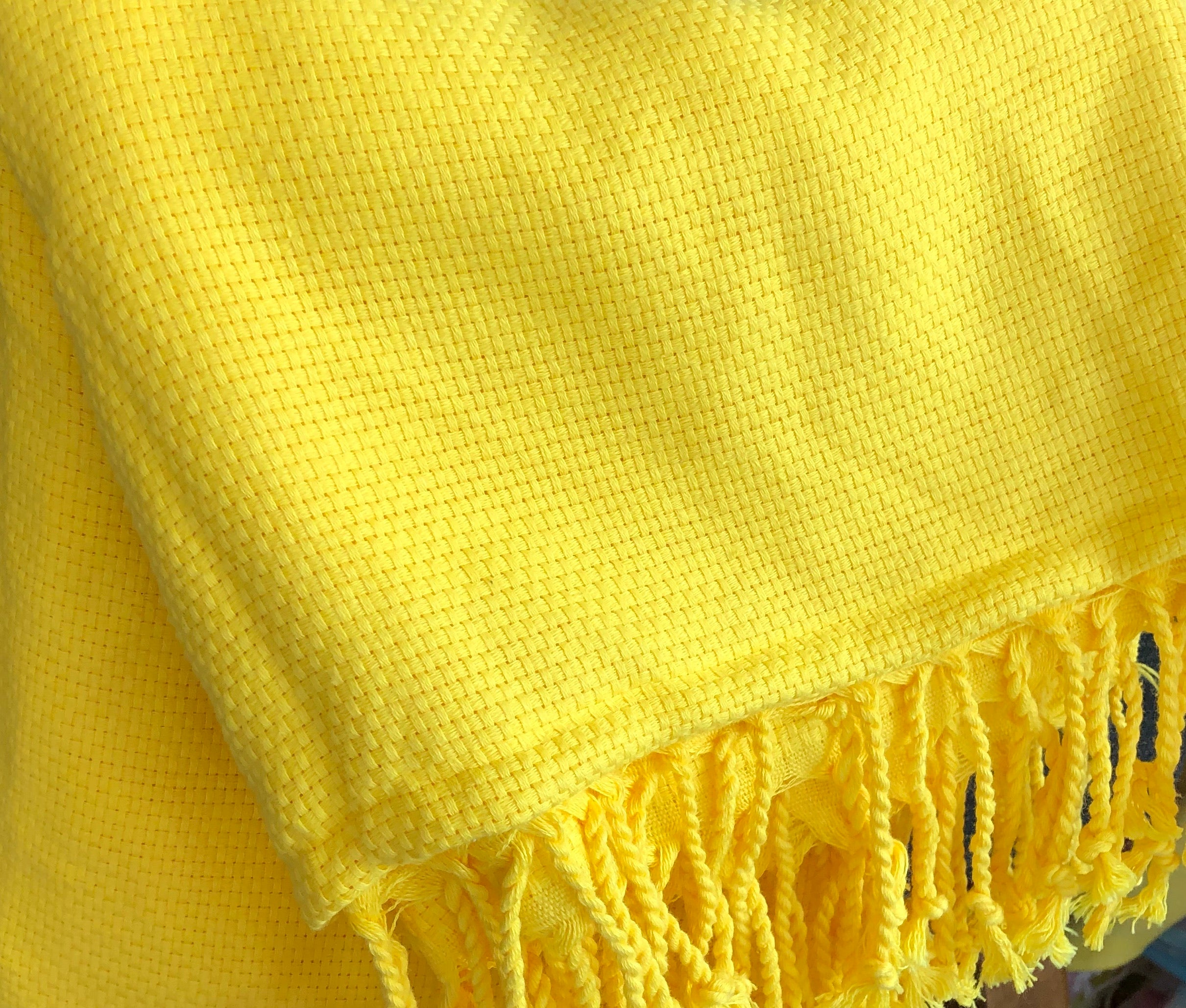 koton kulture toronto turkish towel cozy chic peshtemal with white stripe at the very bottom and tassels in various solid colours yellow