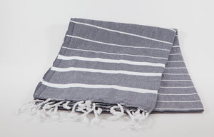 koton kulture toronto turkish towel infinity water dark grey white stripped poncho with tassels for babies kids