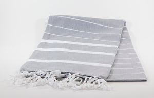 koton kulture toronto turkish towel infinity water grey white stripped poncho with tassels for babies kids