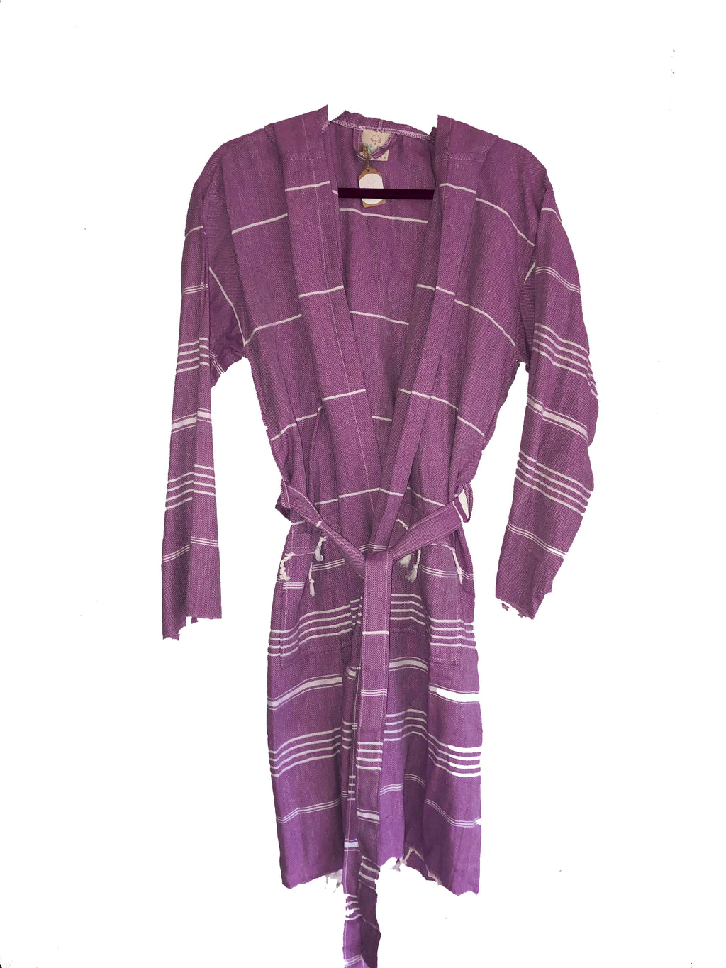 koton kulture sultans palace lavender white stripped peshtemal bathrobe belt pockets white tassels on sleeves bottom toronto turkey cotton organic hammam spa