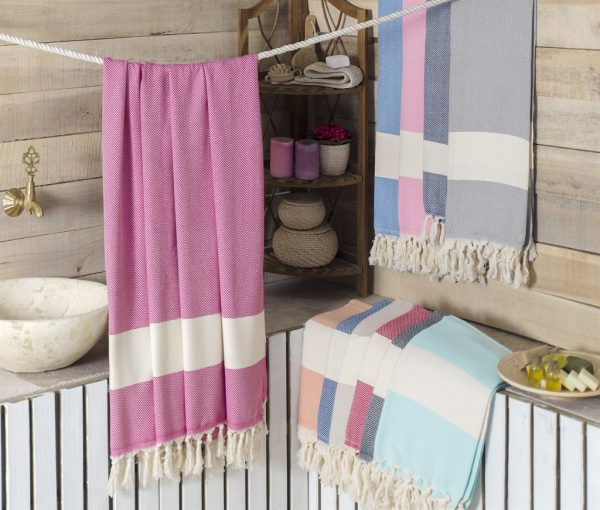 koton kulture toronto turkish towel ocean wave peshtemal with white stripe at the bottom and tassels in grey beige red burgundy pink turquoise blue marine blue