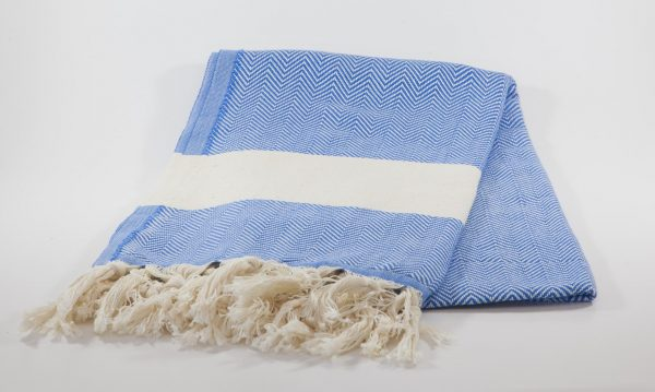 koton kulture toronto turkish towel ocean wave blue  white stripped poncho with tassels for babies kids