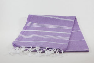 koton kulture toronto turkish towel grey comfort peshtemal with white variable stripes and tassels. base is full colour lavender