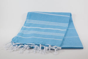 koton kulture toronto turkish towel grey comfort peshtemal with white variable stripes and tassels. base is full colour blue