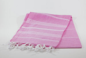koton kulture toronto turkish towel grey comfort peshtemal with white variable stripes and tassels. base is full colour pink
