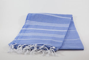 koton kulture toronto turkish towel grey comfort peshtemal with white variable stripes and tassels. base is full colour dark marine blueblue