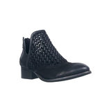 Cedric Woven Leather Bootie Black