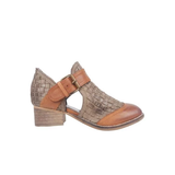 Charlie Woven Leather Bootie Khaki