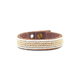 Stripes Pearl + White Beaded Leather Cuff