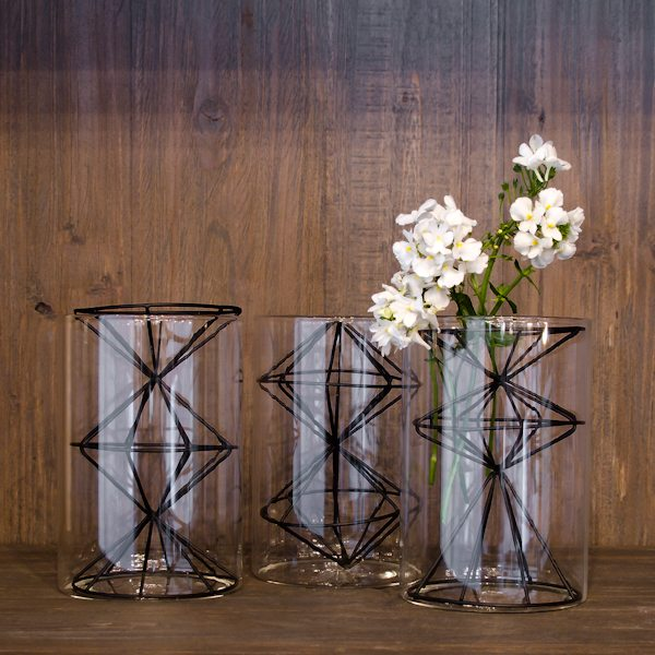 Glass Vase with Wire Holder