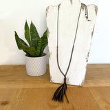 Sterling Silver Bead on Leather - with Tassel