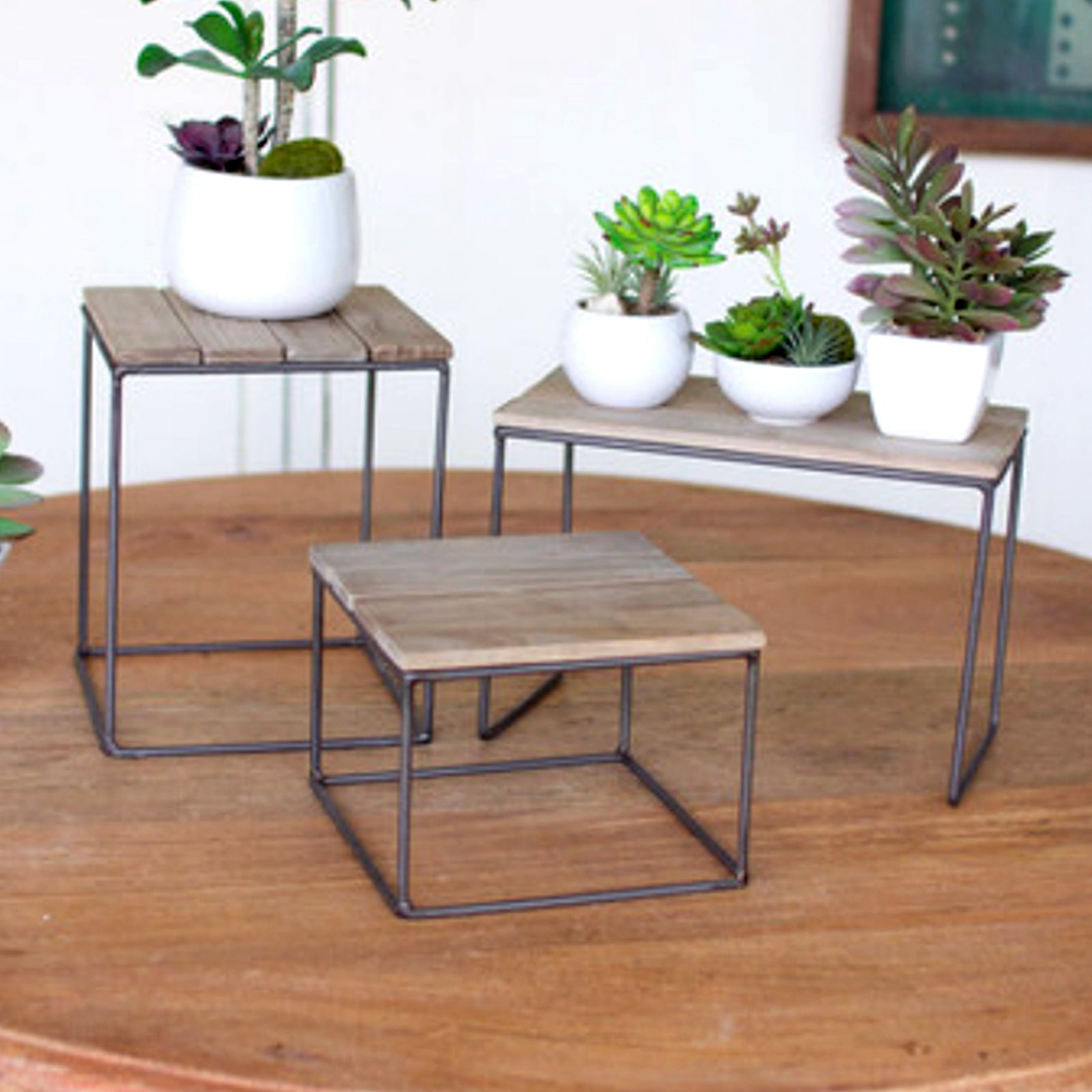 Wood and Metal Table Top Risers