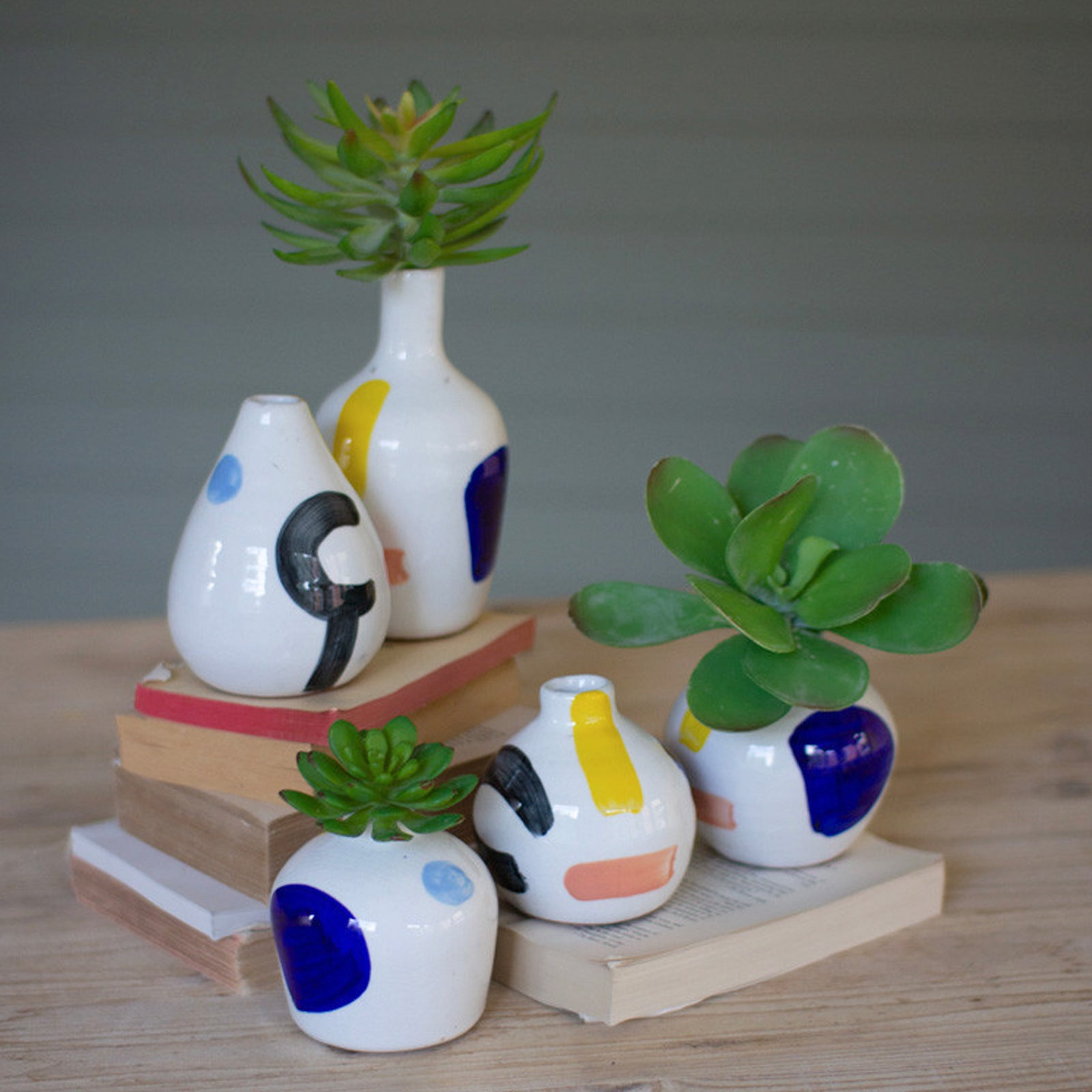 Set of 5 Multicolor Handpainted Vases