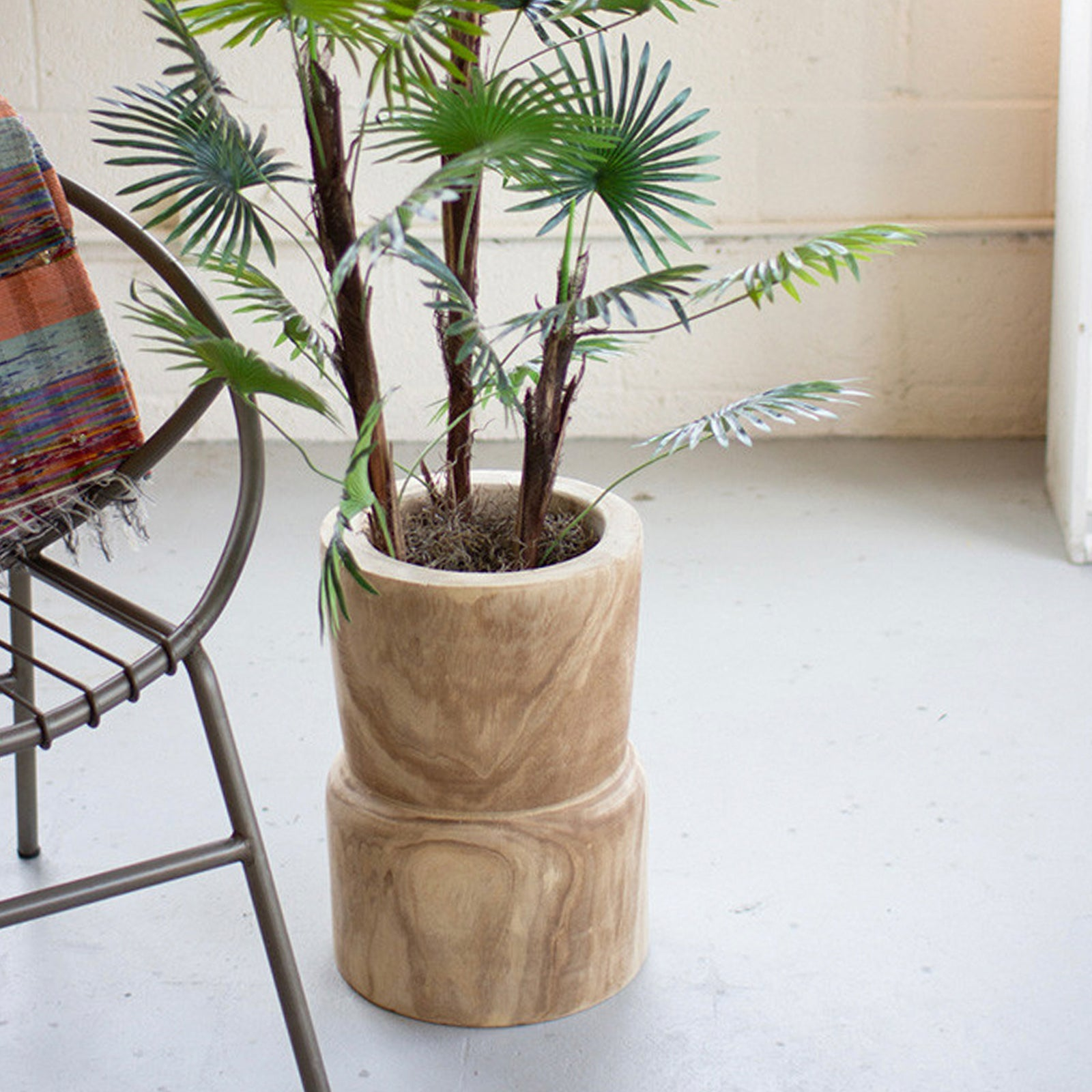 Hand-carved Wooden Planter Pedastal
