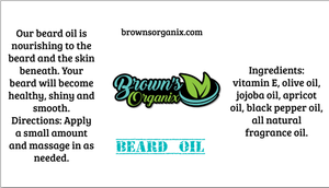 Brown's Organix beard oil is natural and nourishing to the beard and skin.  Provides luster, health, and shine while softening the beard.