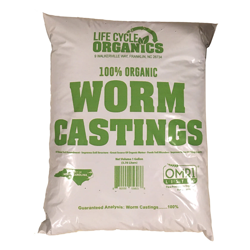 100% Organic Worm Castings - 1 Gallon Bag