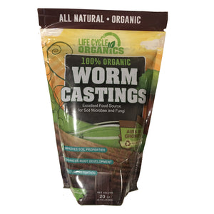 100% Organic Worm Castings - 20 oz. Resealable Zip Pouch