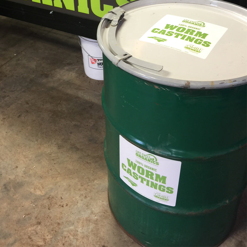 100% Organic Worm Castings - 55 Gallon Drum