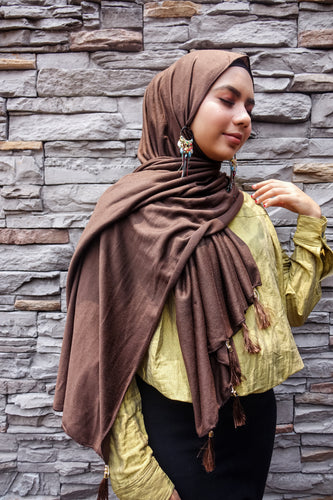 Arabic Plain Tassel Hijab - Dark Brown