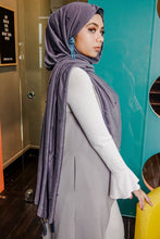 Load image into Gallery viewer, Arabic Tassel Pearl Hijab - Dark Purplish Grey