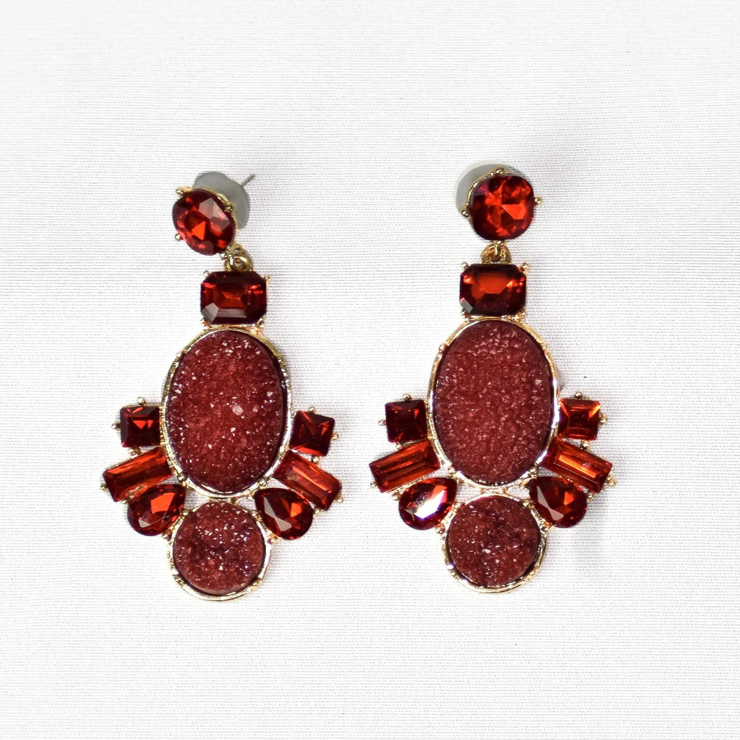 Crystal Stone Raw Earrings- Red