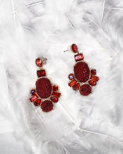 Load image into Gallery viewer, Crystal Stone Raw Earrings- Red