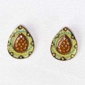 Studded Handmade Nickel Free Earrings- Green
