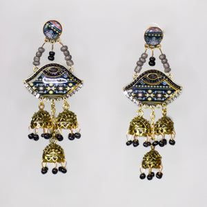 Jumka Bohemian Retro Earrings- Black