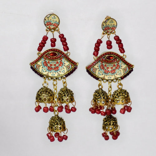 Jumka Bohemian Retro Earrings- Red
