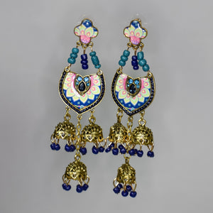 Jumka Handmade Nickel Free Earrings- Blue