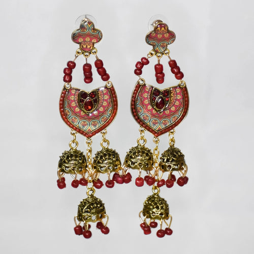 Jumka Handmade Nickel Free Earrings- Red