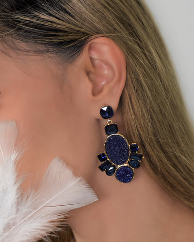Crystal Stone Raw Earrings- Navy Blue