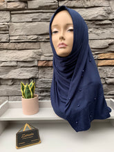 Load image into Gallery viewer, Premium Jersey Pearl Hijab - Navy