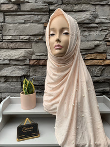 Hosiery Arabic Pearl Shawl- Light Peach (Diagonal)