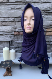 Arabic Tassel Pearl Hijab - Brick | Best Hijab in Singapore @Affordable Price
