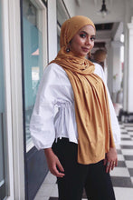 Load image into Gallery viewer, Premium Jersey Pearl Hijab - Mustard