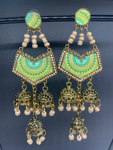 Jumka Abstract Retro Earrings- Cream