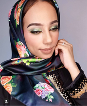 Load image into Gallery viewer, The Secret Garden- Black | Dull Satin Hijab Singapore | Best Online Muslimah Tudung Fashion
