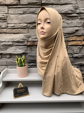 Load image into Gallery viewer, Premium Jersey Pearl Hijab - Dark Brown